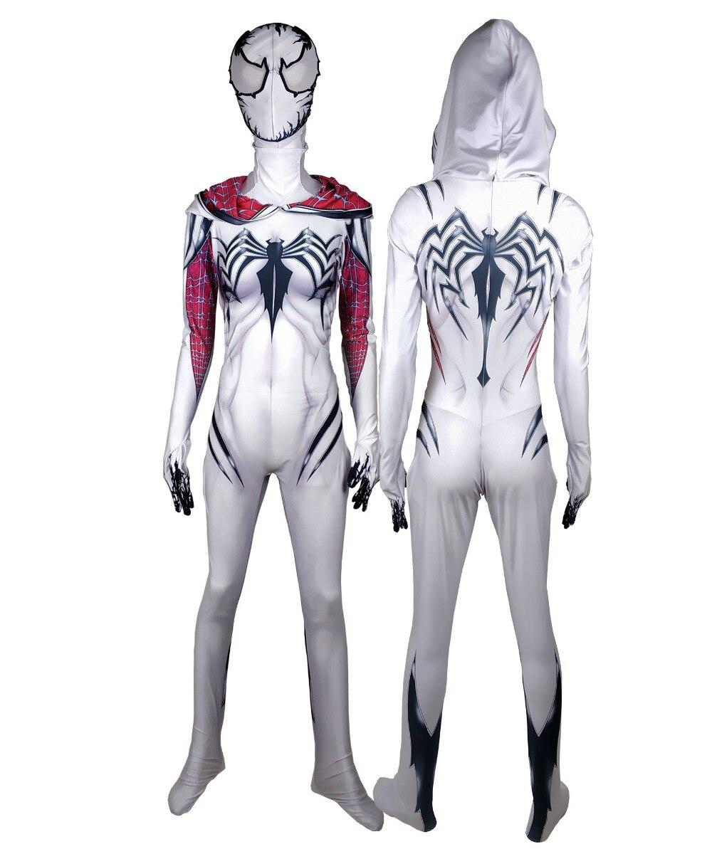 Girls Venom Spider Gwen Stacy Superhero Spandex Zentai Bodysuit Halloween Spiderman Cosplay suit free delivery