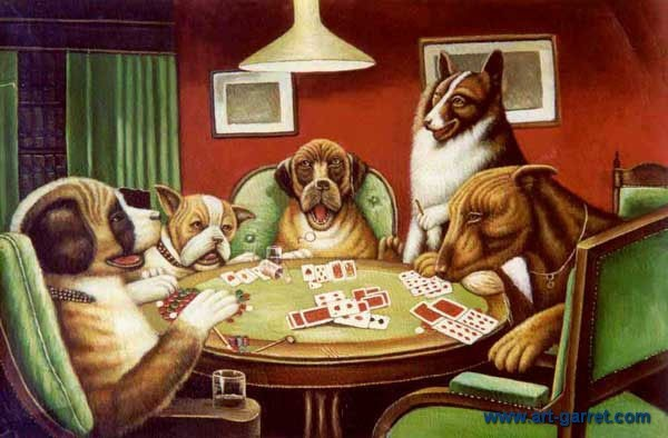 Free Shipping Handmade Dogs Playing Card Oil Painting On