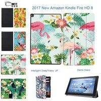 MTT trường hợp thông minh cho amazon kindle fire hd 8 tablet bìa 2017 phát hành Flamingo Đứng cover for all new fire hd 7th thế h