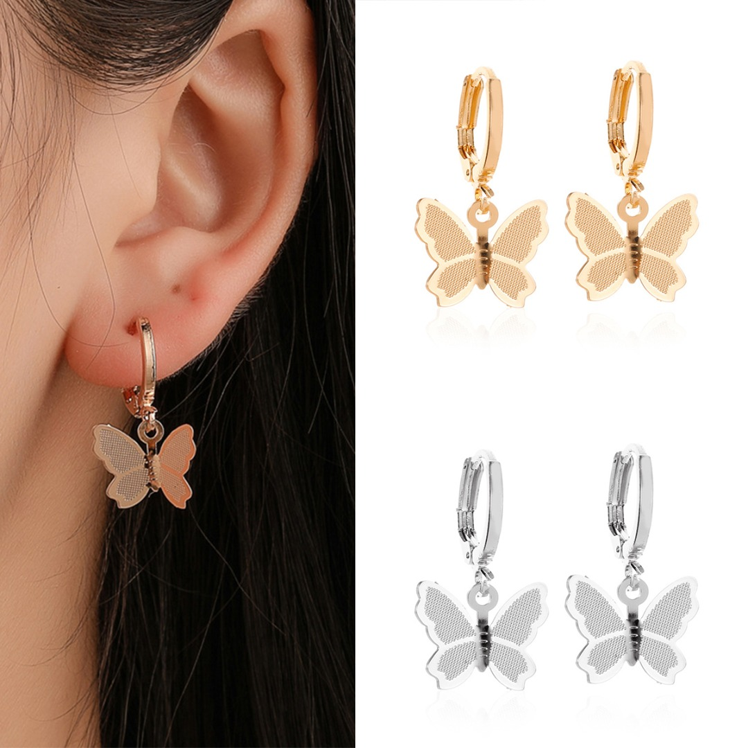 Trendy Butterfly Earring Charm Vintage Frosted Hoop Huggie Gold Silver Small Round Ear Jewelry