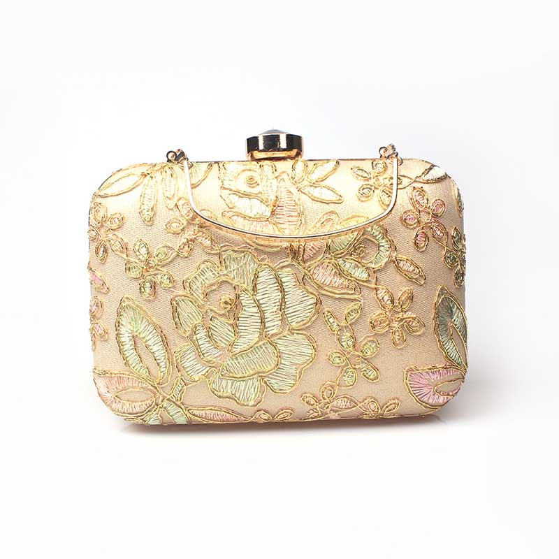Luxury Small Day Clutch Embroidered Flower Bag Gold Cluth Bracelet Evening Bags Chain Shoulder Hand bags For Party Wedding Purse luxury knitting cheongsam clutch bag oval plaid evening bag famous brand day clutch chain shoulder messenger bag party purses