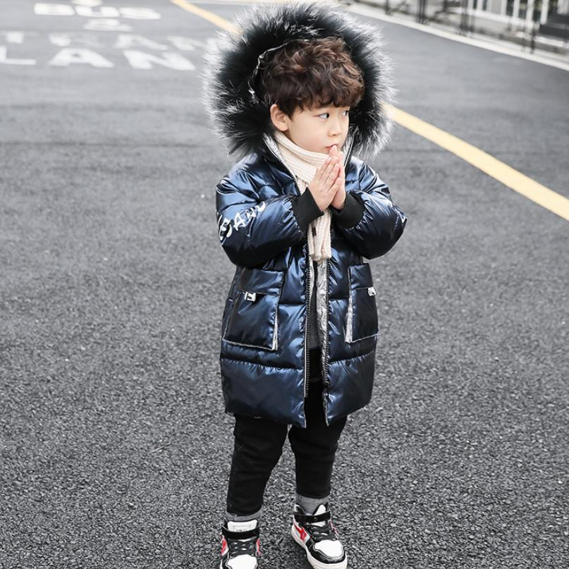 Winter Down Cotton Jacket Baby Boy Clothes Childrens Glossy Coat Thicker Warm Kids Parkas Long Sleeve Hooded Overcoat Y150Winter Down Cotton Jacket Baby Boy Clothes Childrens Glossy Coat Thicker Warm Kids Parkas Long Sleeve Hooded Overcoat Y150
