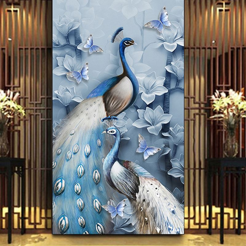 Bacaz Peacock Wallpaper Papel Mural 8d/3D Wall Mural Wall paper for Sofa Background 3d Wall Photo Mural 3d Wallcoverings 3d papel parede forests trees bridge reflection scenery 3d wall paper mural 3d photo wallpaper 3d wall mural for sofa background