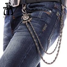 Hip Hop Chains Unisex Black Star Wallet KeyChain Punk Biker Trucker Men Women Metal Jeans Chain Street Dance Accessories