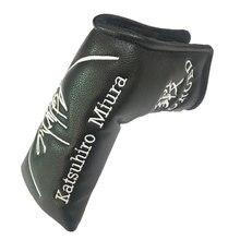 Cooyute卸売ゴルフヘッドカバーベアパターンpu tゴルフputteヘッドカバーユニセックスブラックゴルフクラブヘッドカバー送料無料