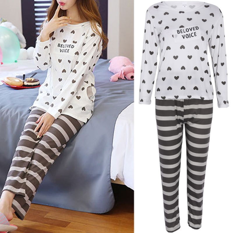 Autumn   Pajamas   2018 Fashion Women Letter heart Print   Pajamas     Sets   Hot Sale Casual Long Sleeve Sleepwear Home Clothing