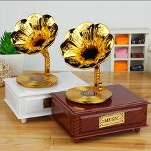 Exquisite Clockwork type Musical Box Retro gramophone Wooden typewriter box Music Box Creative birthday wedding Valentine gift