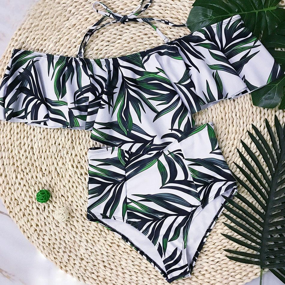 HTB1PPtkiY1YBuNjSszhq6AUsFXaq 2019 Sexy bikini Set High Waist Swimwear Women Striped Biquini Ruffled Swim Bathing Suit White Blue Swimsuit Vintage Bikinis