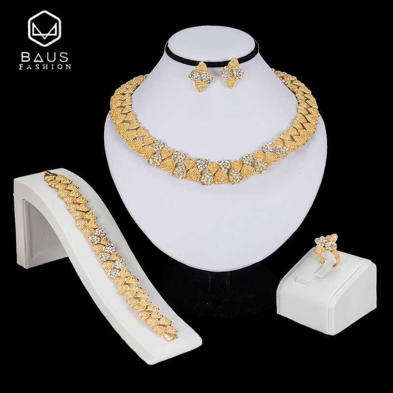 BAUS Tinh Tế pha lê Phi Hạt Trang Sức Set Dubai Màu Vàng Sang Trọng Phụ Nữ Nigeria Wedding bridal jewelry đặt bán buôn