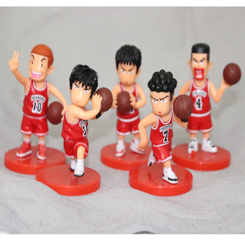 5pcs/lot SLAM DUNK Basketball Player Japan Anime Figure Doll Hanamichi Sakuragi Rukawa Kaede Model Toys Gifts Collection image