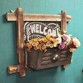 American wood idyllic village tea shop cafe shop rectangular wall shelf decorative wall flower