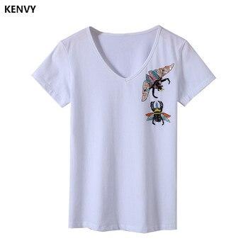 Kenvy marca de moda feminina high-end de luxo verão novo fino frisado manga curta com decote em v camiseta topo