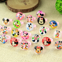 2017 New Wholesale Jewelry Lots Mix 100pcs Cute Girls Kids Mickey Resin and glassChildren Safe Rings