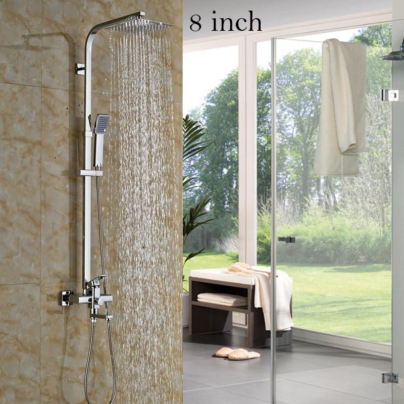 Polished Chrome 12/10/8 inch Rain Showerhead Bathtub Shower Faucet ...