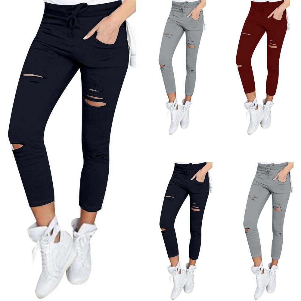Explosion Pencil Pants Hole Cotton Women 39 s pants Street Fashion Pants Tight fitting Pencil Pants in Pants amp Capris from Women 39 s Clothing