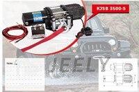 Бесплатная доставка пульт дистанционного управления 3500LB автомобильная лебедка, электрическая лебедка В 12 В, 4X4/UTV/ATV лебедка