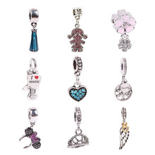 dodocharms 1Pc Silver Color Bead Charm European With Love Man Crystal Charm Pendant Bead Fit Pandora Bracelet(China)