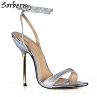 Sorbern Glitter Prata Sapatos de Festa Sandálias de Tiras No Tornozelo Uma Alça de Saltos De Ouro Kim Kardashian Sapatos Verão Sandálias Stilleto Personalizado