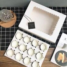 8bf5100fcedd79 5 sztuk pudełko na ciastko z okno biały brązowy papier pakowy pudełka deser  mus pudełko 12