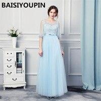 Long Blue Dress Vestidos De Festa Vestido Longo 2019 Illusion Modest Evening Dresses Women Prom Dress with Sleeves