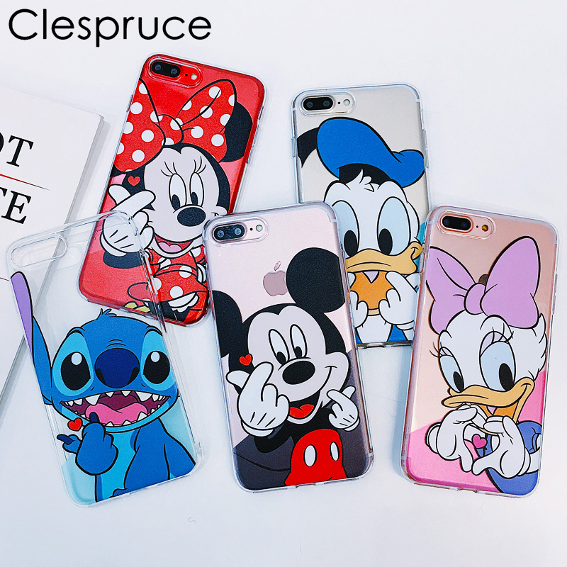 Cartoon Soft Silicone Case Transparent For Apple iPhone 7 8 6 6s 7 Plus 8Plus Mickey Minnie Mouse Clear Donald Daisy Duck Stitch