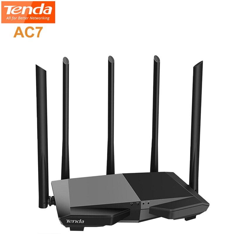 Routeur WiFi sans fil Tenda AC7 2.4 GHz + 5 GHz répéteur WiFi double fréquence 1167 Mbps 5 X 6dBi antenne 3 Ports LAN routeur
