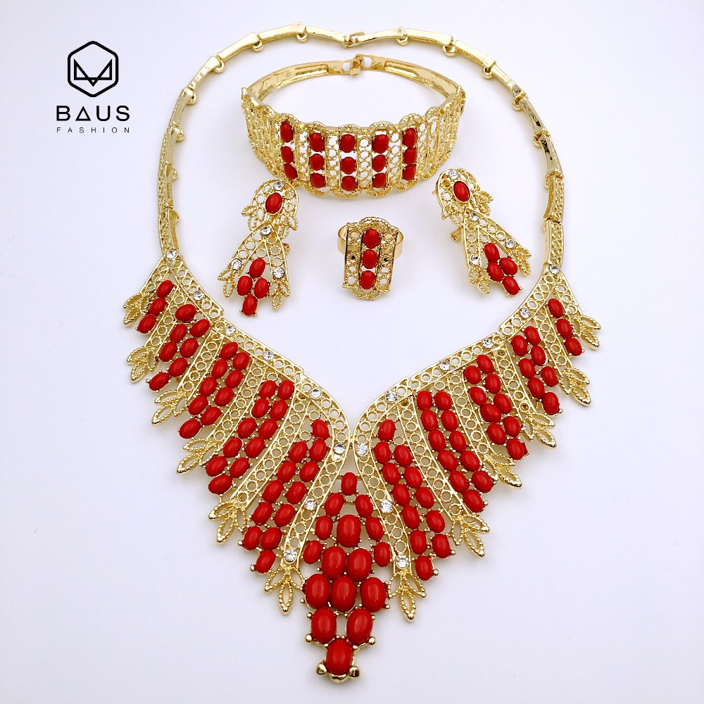 Red Beads Pearl Ethiopian Nigerian Wedding African Beads Jewelry Set Dubai  Necklace Earrings Christmas Bridal Gifts