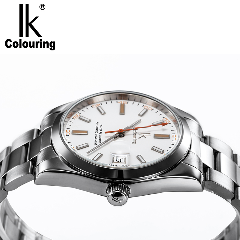 IK Brand Man Automatic Mechanical Watch Mens 12 Hours Calendar Silver Full Steel Watches Fashion Simple Casual relojes 2017 new full steel automatic watch binger casual fashion wristwatch with gold calendar man business hours clock relogio reloj