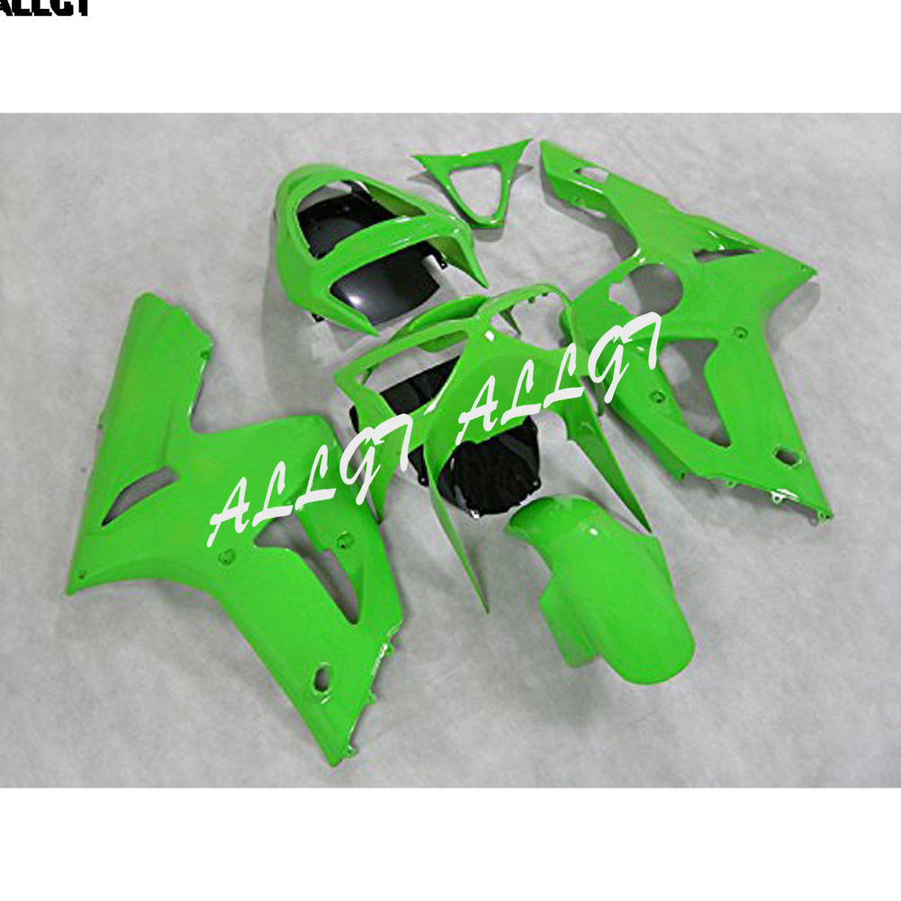 ABS Injection Mold Black Fairing Kits For Kawasaki Ninja ZX-6R ZX6R <font><b>636</b></font> <font><b>2003</b></font> 2004 Green & Glossy Black image