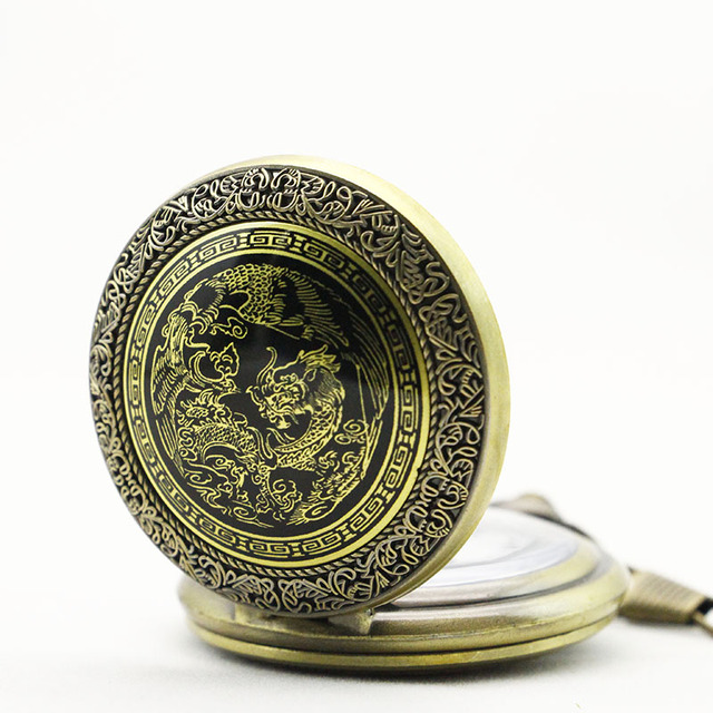 Antique China Dragon Retro Thick Waist Chain Bronze Quartz Pocket watch Men's Women's Gift