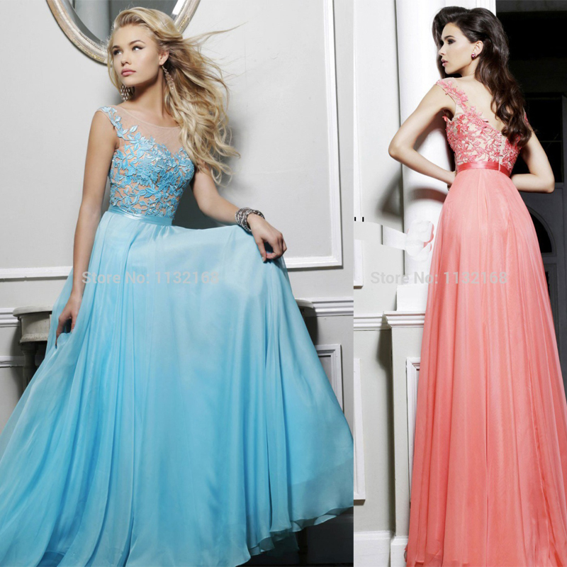 Red And White Lace Prom Dress: Elegant Cheap Blue Pink Fuchsia White A Line Chiffon Lace