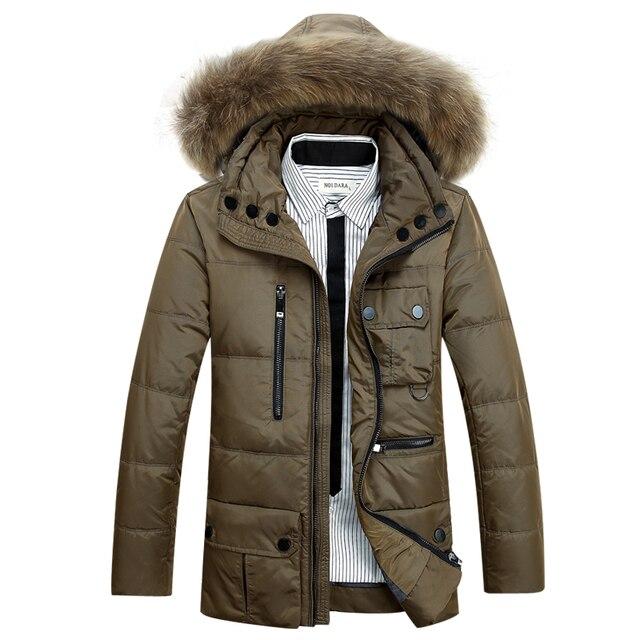 Мужчины Зимние Куртки С Меховым Капюшоном Моды Пальто Зимние мужские Куртки Мужской Белая Утка Вниз Пальто Куртки Вниз куртка Пальто