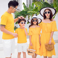 Mom Daughter Yellow Dresses Kids Summer Clothes Dad Son Short Sleeve Casual T shirt and White Pants Set Family Matching Outfits