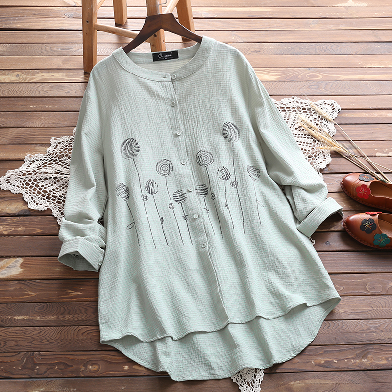 Plus Size 2018 Women Floral Blouse Elegant Autumn O Neck Long Sleeve Casual Loose Cotton Linen Top White Blusas Buttons Shirt