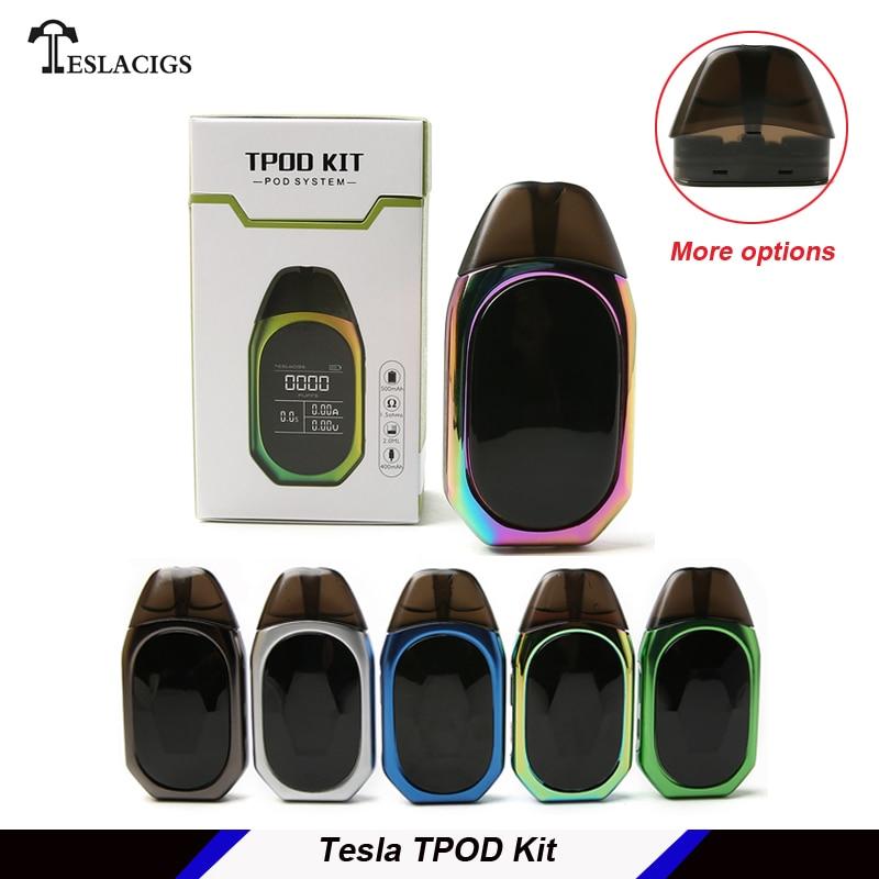 D'origine Tesla TPOD Kit avec 2 ml Cartouche POD réservoir 500 mah Batterie Portable tout en un e-cig kit teslacigs t pod vaping kit