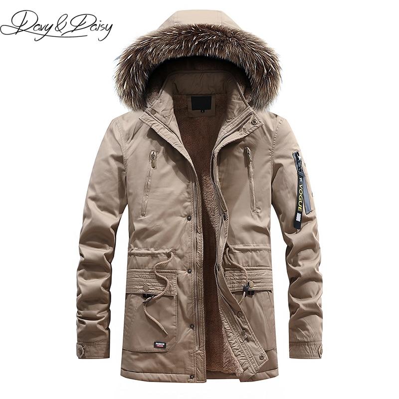 DAVYDAISY Military Winter Jacket Men Casual Thick Warm Hooded Fur Collar   Parkas   Detachable Hooded Coat Men Fleece   Parkas   DCT-247