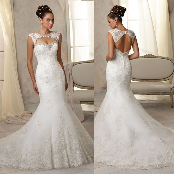 Buy hot selling fit and flare embroidered for Diamond mermaid wedding dresses