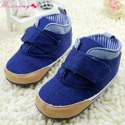 Criança recém-nascido meninos tornozelo lona sola macia antiderrapante crianças berço sapatos sneaker