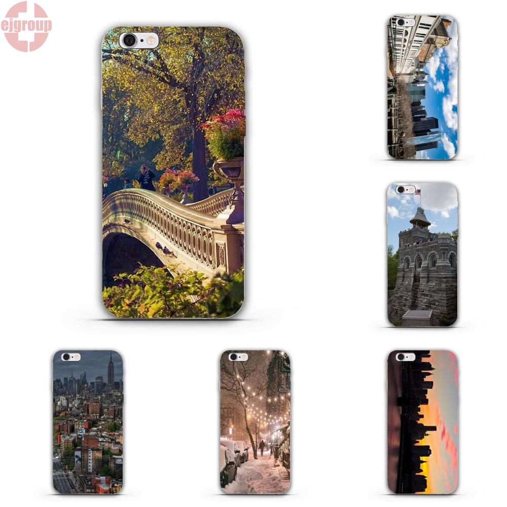 EJGROUP Soft TPU Silicon Art Cover Case New York City Ny Scenery For iPhone 4 4S 5 5C SE 6 6S 7 8 Plus X