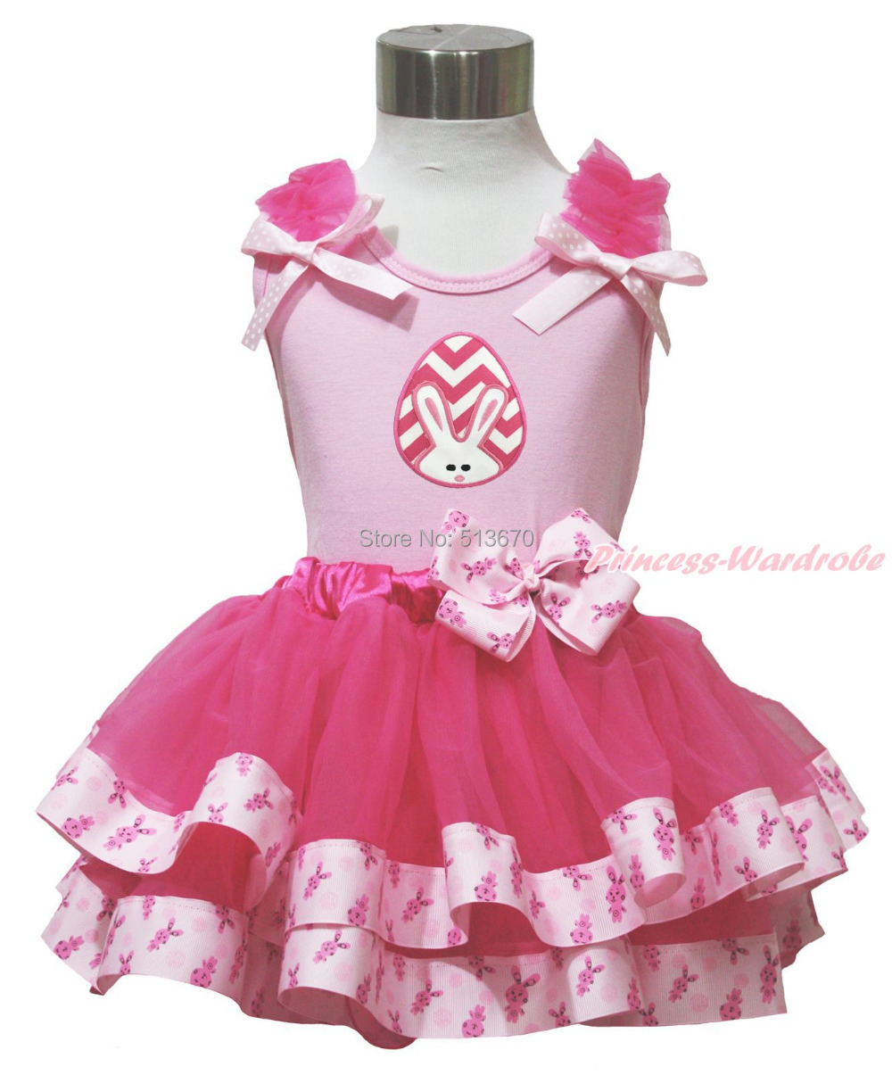 Easter Ruffle Bow Pink Top shirt Hot Pink Bunny Rabbit Satin Trim Easter Pink White Egg Bunny Baby Girl skirt Set 1-8Y MAPSA0491 baby golden brown pettiskirt golden ruffle brown bow white top shirt set 3 12m mapsa0289