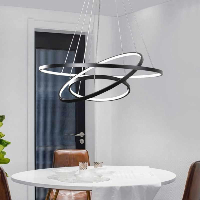 Современная висячая Потолочная люстра, подвесное освещение, светодиодный светильник для гостиной, столовой, круглые кольца, акриловая алюминиевая Светодиодная потолочная лампа