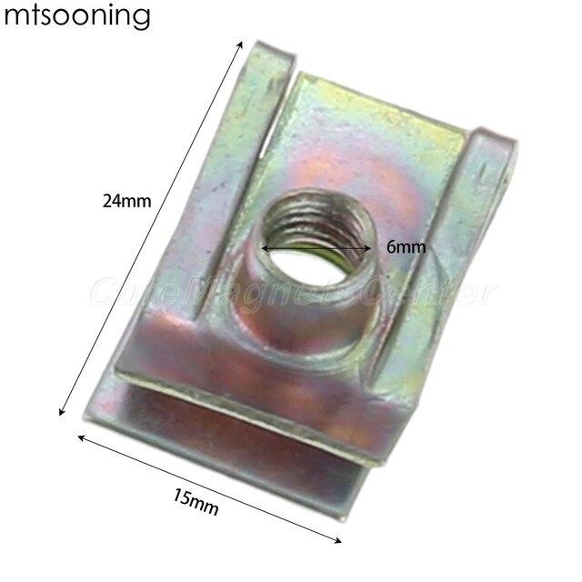 Mtsooning 10 sztuk 6mm M6 bieżnik Panel Spire nakrętka Fairing klip mocujący prędkość zacisk montażowy cynku dla VW