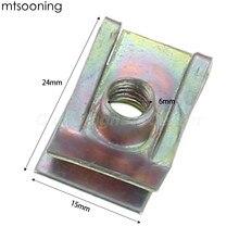mtsooning 10pcs 6mm M6 Tread Panel Spire Nut Fairing Clip Fastener Speed Zinc Mounting Clamp for VW