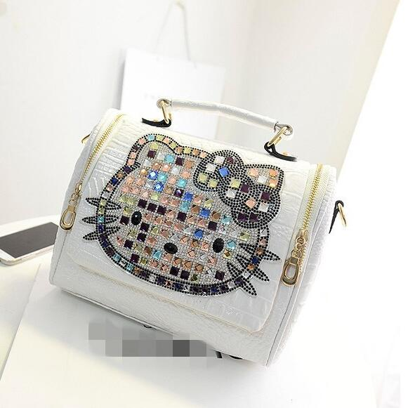 Female Famous Brand Luxury Women Crocodile Leather Hello Kitty Bag Handbags Messenger Shoulder Bags Tote Bolsa Feminina 40 Women's Bags