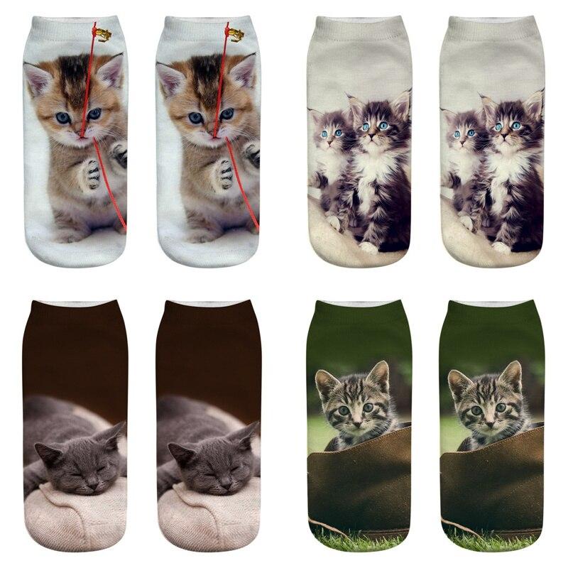 Dreamlikelin Cute Cat 3D Print Woman Socks 27 Styles Persian Cat Ragdoll Funny Ankle Socks For Women Children