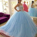 luxury light blue Quinceanera dresses 2017 cryatal beaded ball gown tulle formal party girls debutante dress robe de soiree