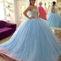 Luxo luz azul vestidos Quinceanera 2017 cryatal frisada vestido de baile de tule festa formal meninas debutante vestido de robe de soirée