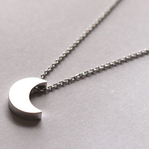 Simple korean style goldsilver crescent moon necklace plain half simple korean style goldsilver crescent moon necklace plain half moon galaxy moon pendant necklace set jewelry for women female in pendant necklaces from aloadofball Gallery