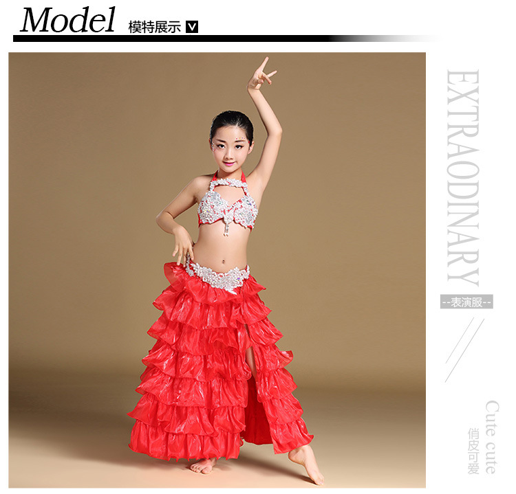 Kids Girls handmade CZ diamond Bra top+Long skirt 2PCS  Bellydance SUITS DRESS costume Girl dance skirt