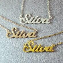 Collar nombre personalizado, de Encargo de La Joyería, 925 plata esterlina chapado en oro collar con nombre, Joyería hecha a mano, nombre personalizado